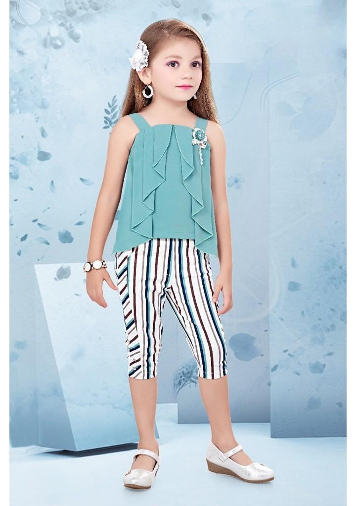 Girls stylish top and stripes capri pant set-green
