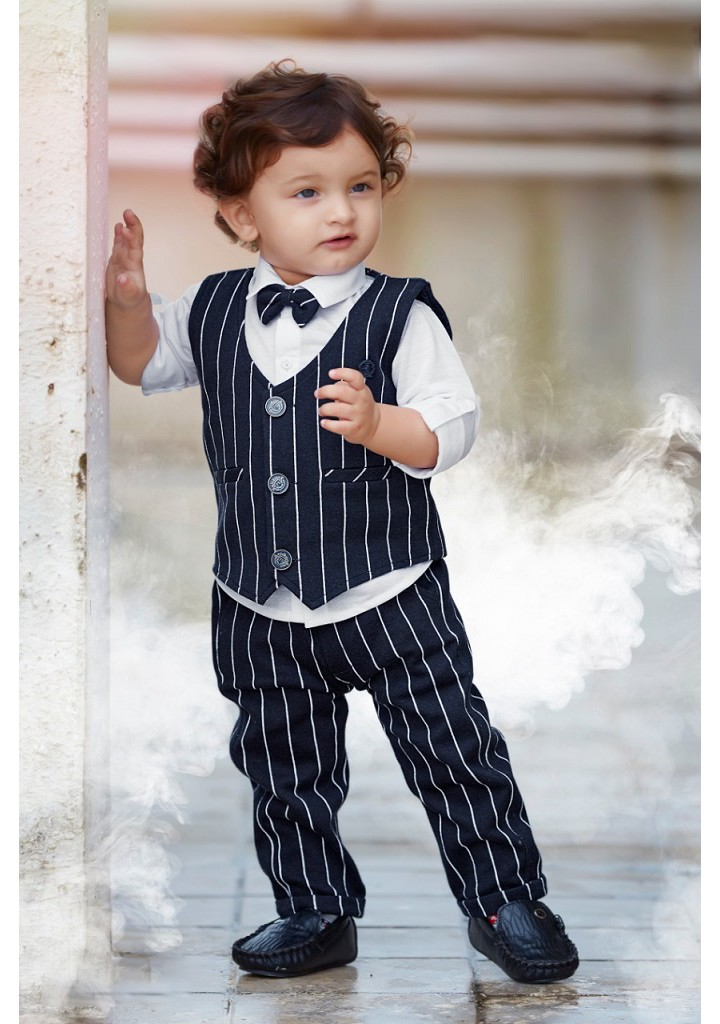 boys 3pc stripe full suit with bow tie-navy
