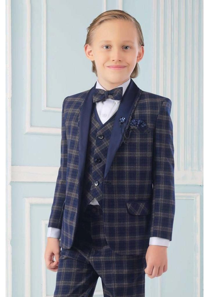 Boys 3 piece chekered suit-navy