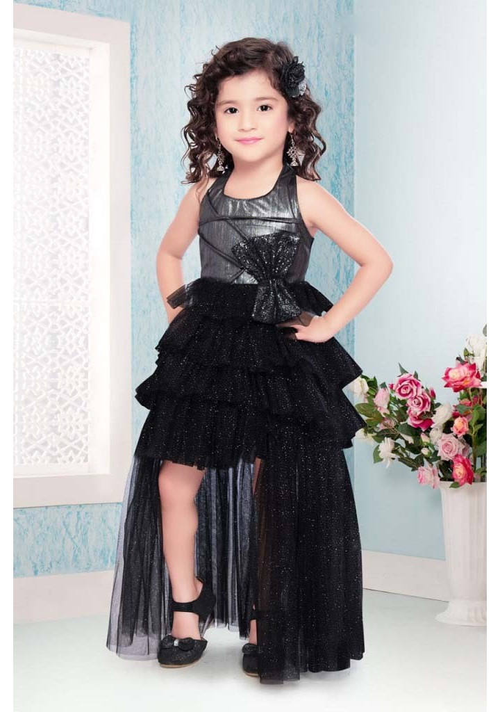 Girls up and down pattern tail frock-black
