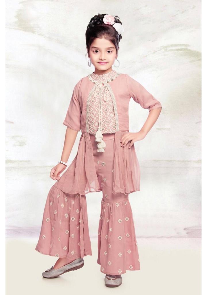 Girls embroidered choli and gharara set with shrug peach