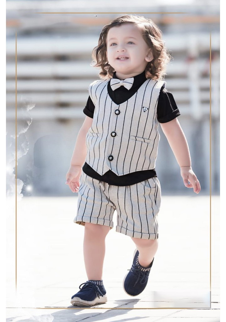 small boys striped style 3 pc half suit-beige & black