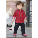 Little boys striped shirt and pant set - red