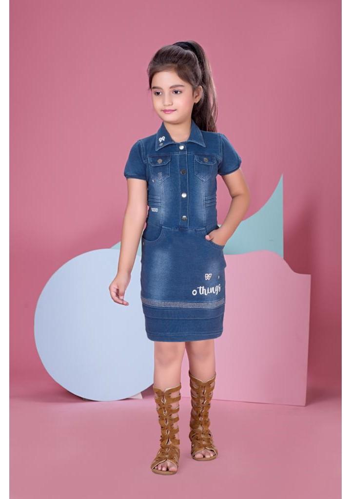 girls knee length denim dress