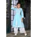 Girls lucknowee style cotton kurti and pant set -blue