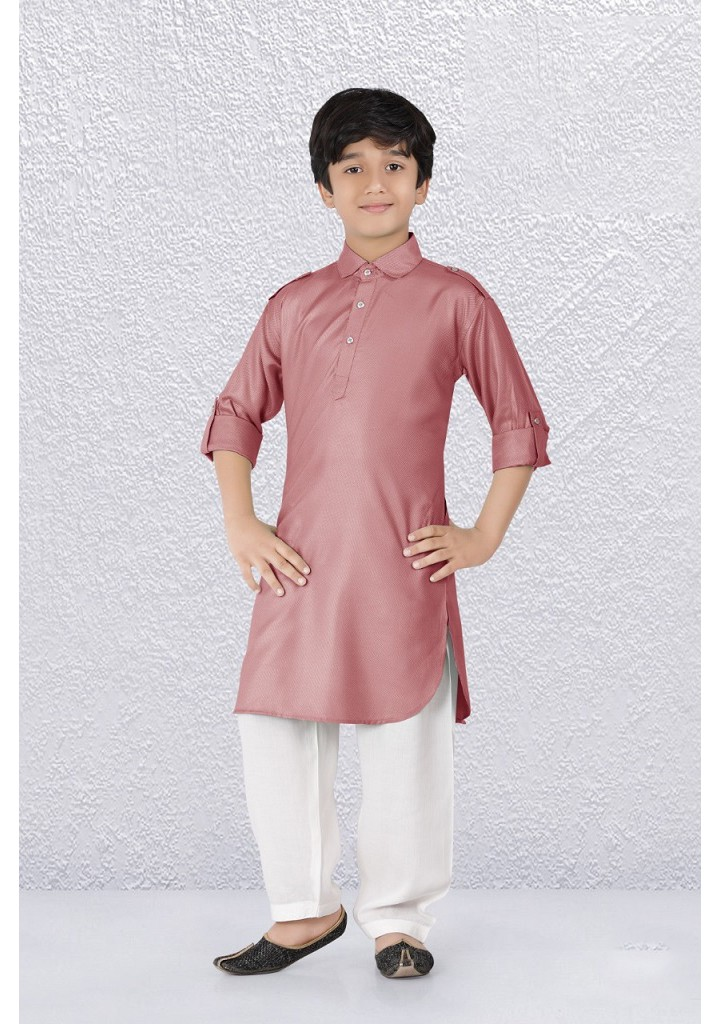 Boys  pathani kurta pyjama set-pink