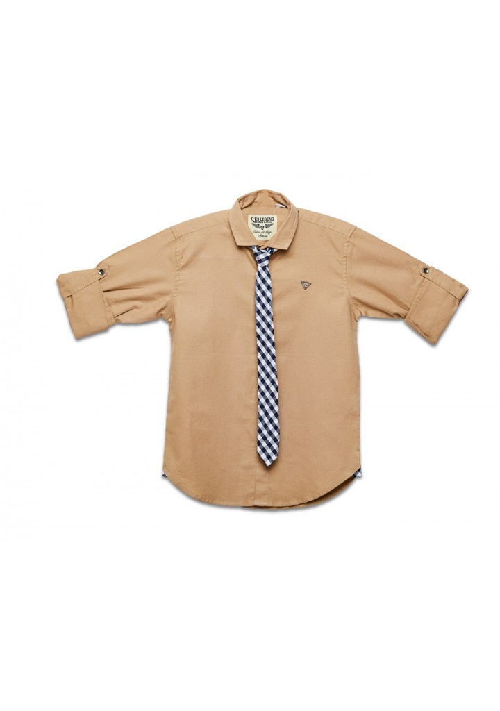 Party Wear Shirts for Kids Boys in (Beige color), Plain Cotton fabric