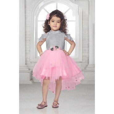 Girls up and down pattern tailcut frock-PINK