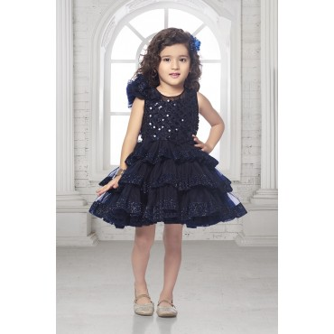 Girls knee length party frock - navy