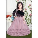 GIRLS MULTI LAYER PARTY WEAR GOWN - ONION PINK