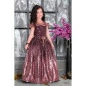 Girls wine floral applique multi layer gown