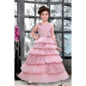 GIRLS MULTI LAYER PARTY WEAR GOWN-PINK