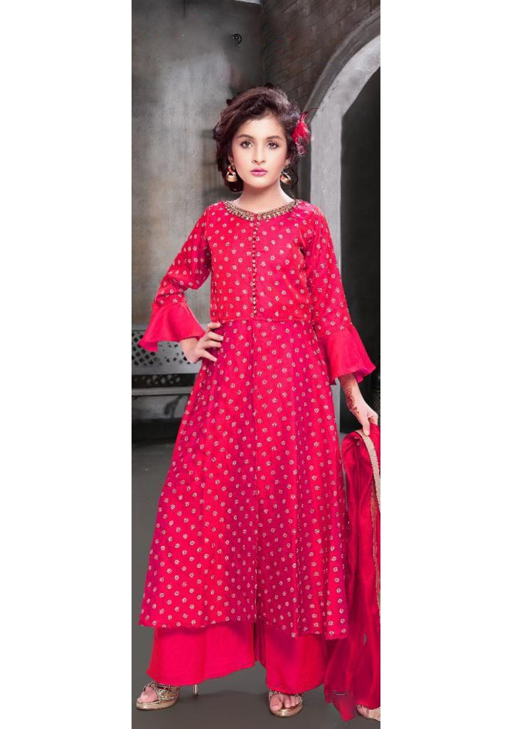 Girls all over embroidered pant style ethnic dress-RED