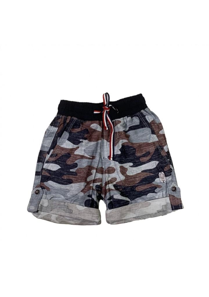 Boys cotton military shorts-brown