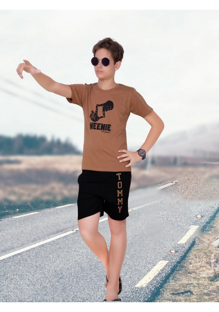 Boys half sleeves with shorts night suit-brown