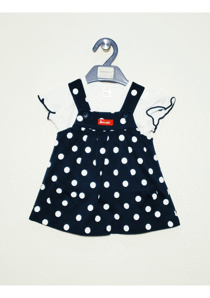 Baby girls dungaree frock-blue