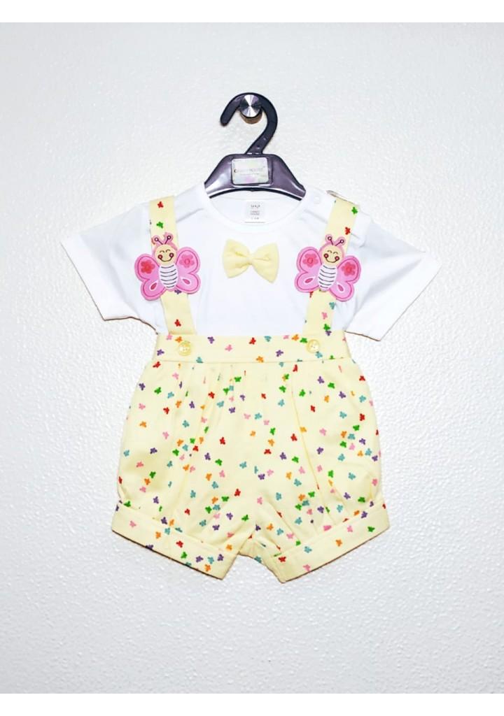 Baby girls dungaree set-yellow