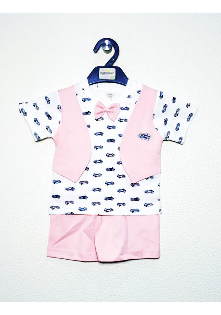 Baby boys shorts and tshirt set-pink
