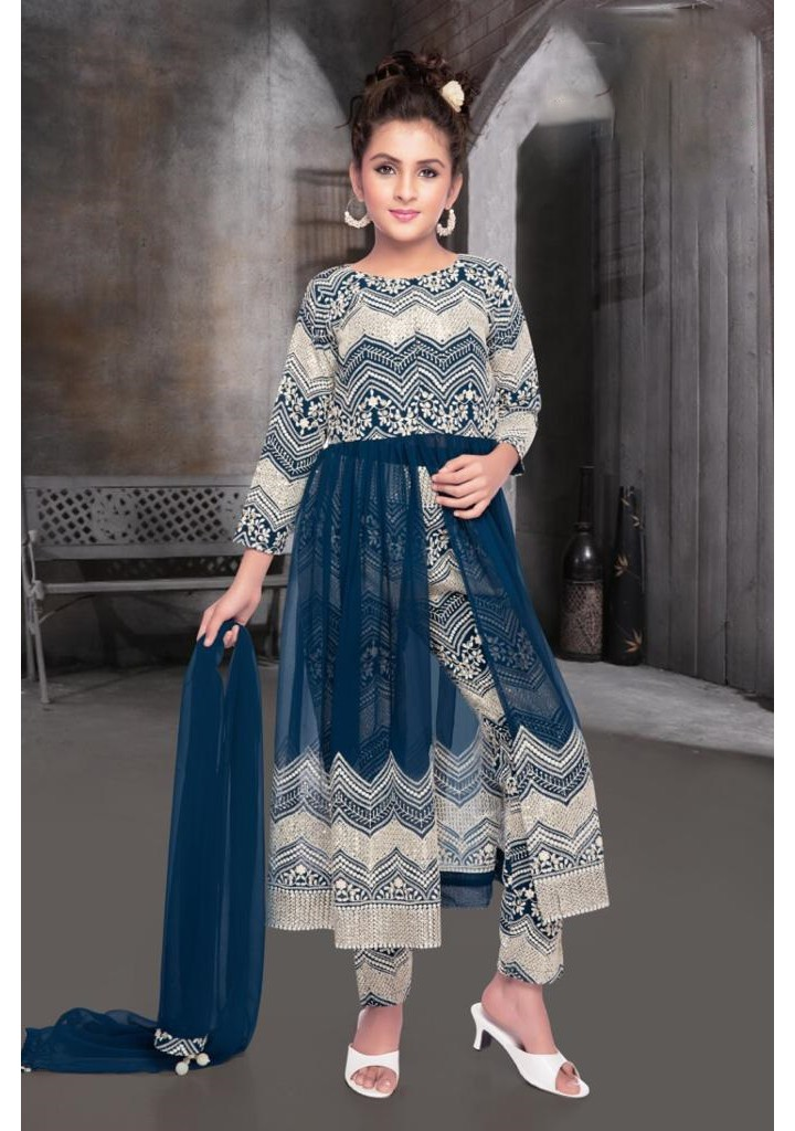 Girls all over embroidered pant style ethnic dress-blue