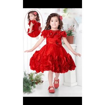 Girls party wear frock red
