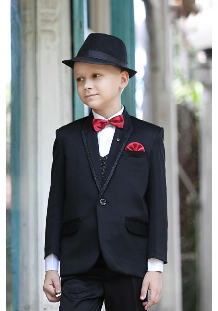 Black colour 4 piece suit for boys with bowtie