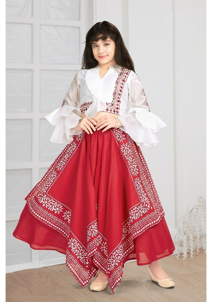 girls crop top and long skirt set-red