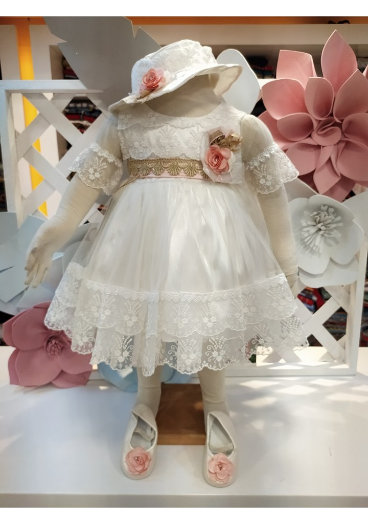 Girls embroidered party frock -white