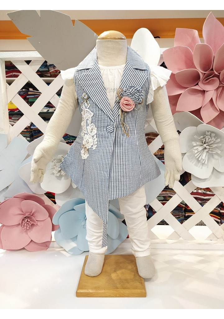 Girls top with jacket and capri pant
