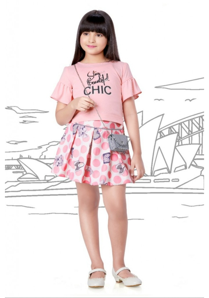 girls skirt and top with bag - pink