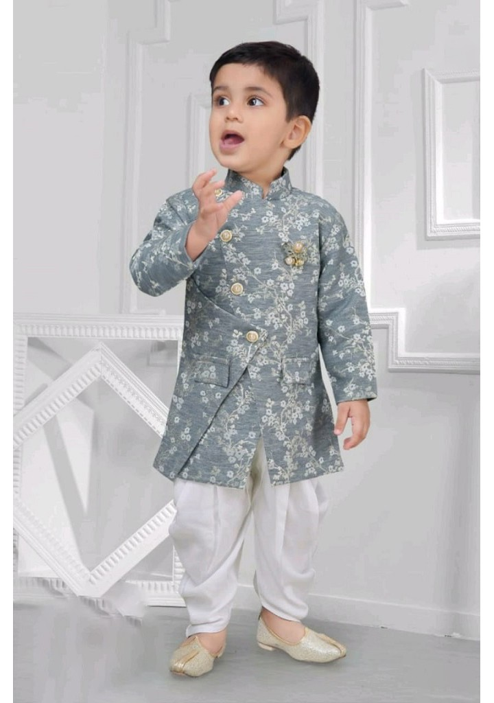 Boys printed indo westtern sherwani set-grey