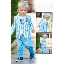 Boys 3 piece Blazer style jacket and pant set-firozi