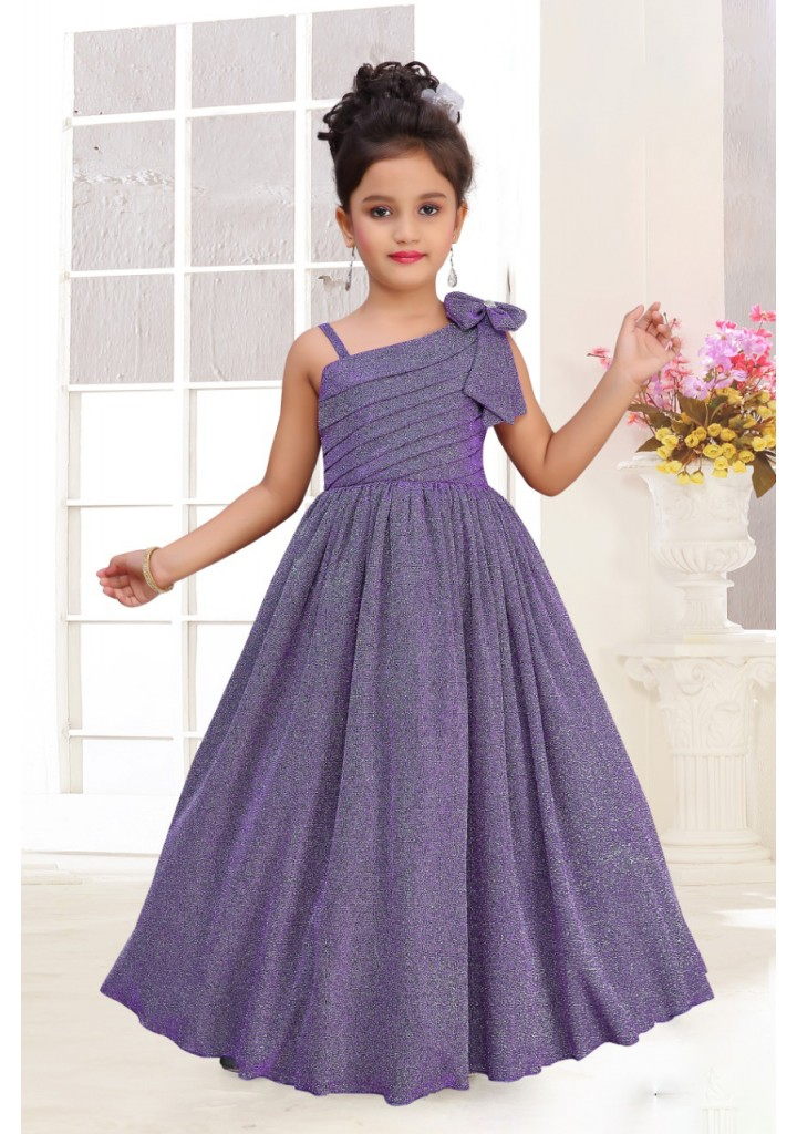 Girls shimmer fabric party  gown- blue