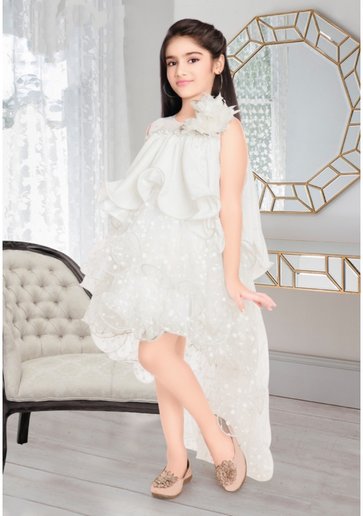 girls up and down frock white