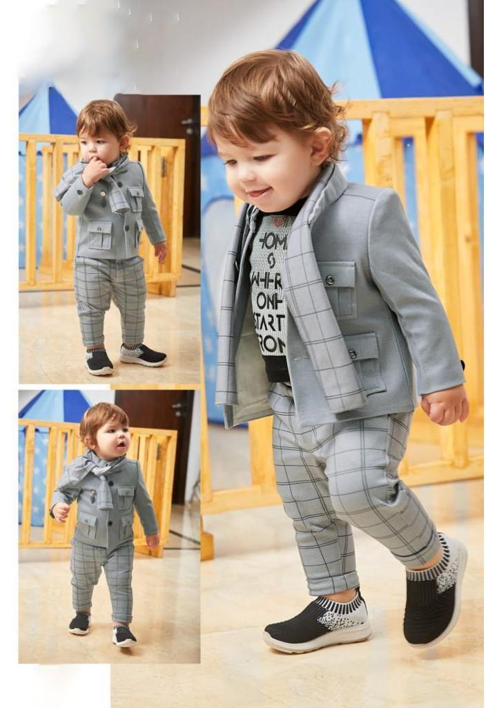 Boys 3 piece Blazer style jacket and pant set-gray