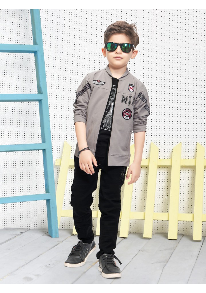 Boys 3 piece Blazer style jacket and pant set--gray