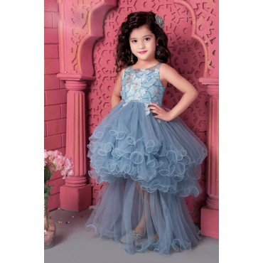girls up and down frock blue