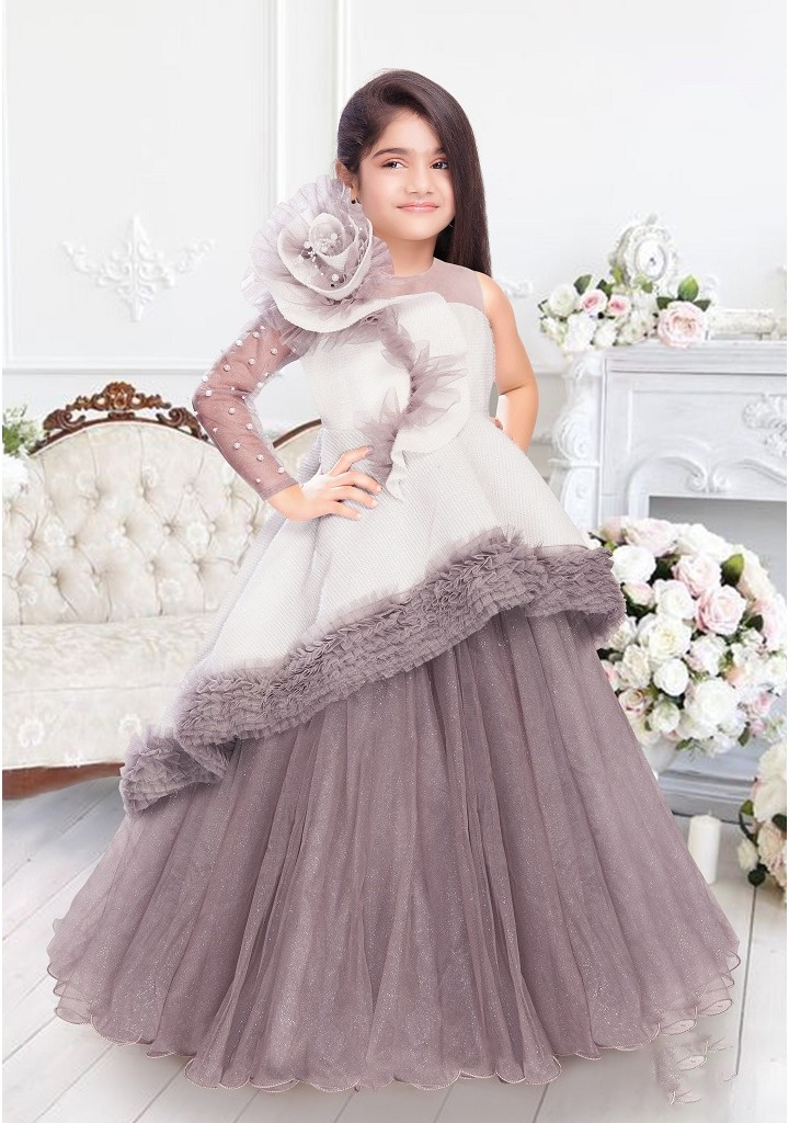 GIRLS MULTI LAYER PARTY WEAR GOWN-WHITE