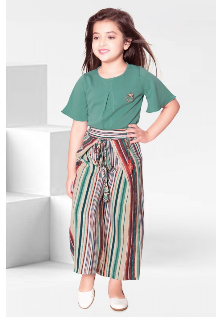 Girls floral top an palazzo set -green