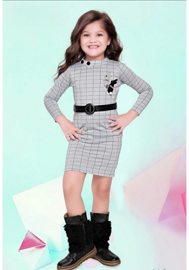 girls  checked knee length midi - gray