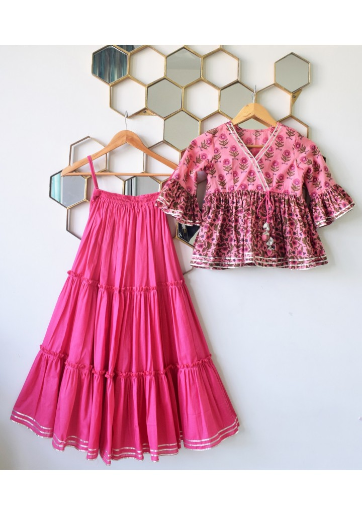pre order-Printed peplum top with triple tier skirt