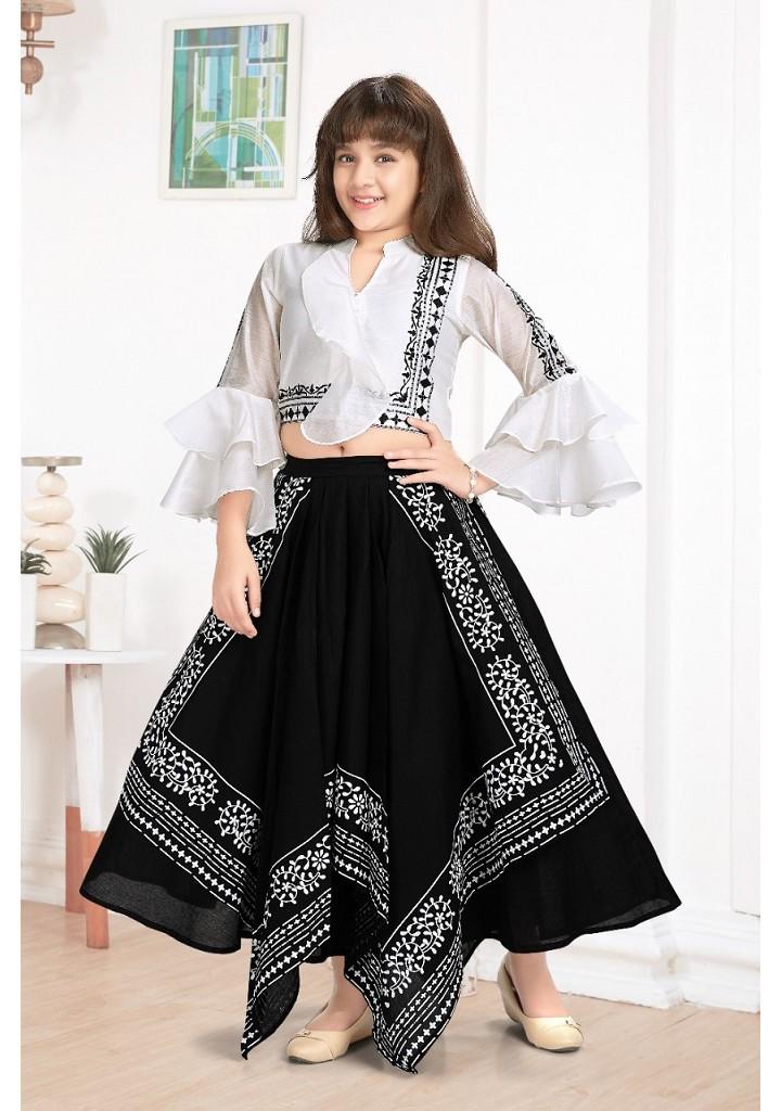 girls crop top and long skirt set