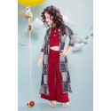 Maroon crop top and pallazo set paired with floor length shrug/jacket
