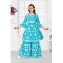 Girls lucknowee style cotton kurti and palazo set -blue