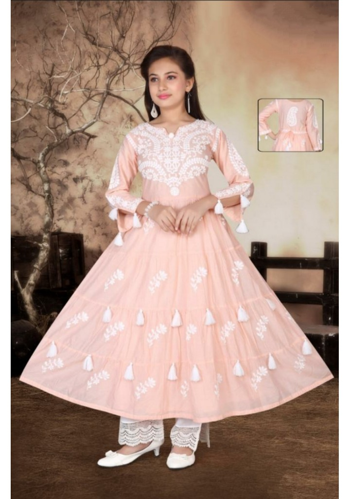 Girls lucknowee style cotton kurti and pant set - pink