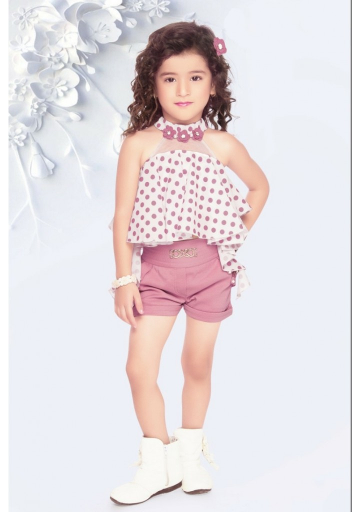 Girls stylish top with shorts - pink