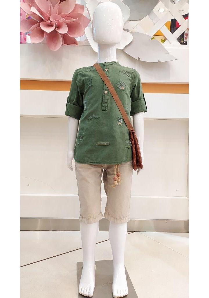 Boys short kurta and capri pant set with sling-olive